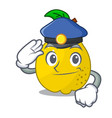 police character ripe quince fruit with leaf vector image vector image