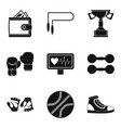 pugilism icons set simple style vector image vector image