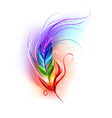 rainbow feather on white background vector image vector image