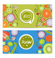 raw food horizontal flyers set vector image vector image