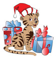santa cat with christmas gifts vector image vector image