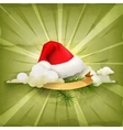 Santa Claus hat old style background vector image vector image