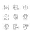 set line outline icons vpn vector image vector image