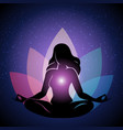 silhouette of woman in yoga lotus pose vector image
