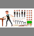 snooker player male animated character vector image