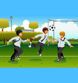 student playing soccer vector image