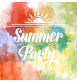 summer party poster om watercolor background vector image