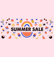 summer sale banner design with fruits ice cream vector image