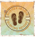 surfing colored vintage emblem with flip flops vector image vector image