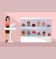 sweet shop cartoon composition with shop assistant vector image