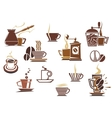 Various coffee icons vector image vector image