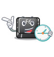 with clock button f6 isolated in mascot vector image vector image