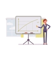 Woman drew a positive graph on the whiteboard vector image