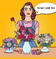 woman florist making bunch of flowers pop art vector image vector image