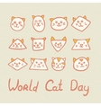 World Cat Day Card with cat muzzles on textured vector image vector image