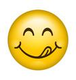 yummy smile cartoon line emoticon lick lips with vector image