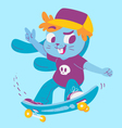 Cute Bunny Doing Tricks on Skateboard vector image