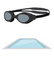 Swimming pool and goggles vector image
