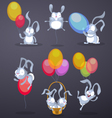 Funny rabbits with balloons vector image