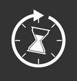 time icon flat with hourglass on black background vector image