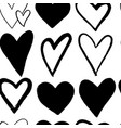 abstract seamless pattern of hand drawing hearts vector image vector image