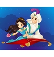 Aladdin On Flying Carpet At Night vector image