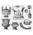 ancient greece antique symbols greek coins vector image vector image