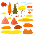 autumn set of trees mountains and hills seasonal vector image