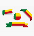 benin flag stickers and labels vector image