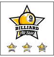 billiard 9 ball all star badge logo
