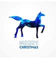 Blue geometric horse silhouette vector image vector image