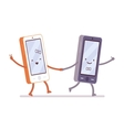 Boy and girl smartphones are walking holding a vector image vector image