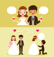 Bride And Black Skin Groom In Wedding Clothing Set vector image vector image