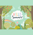 cartoon frame with summer forest and rainbow vector image vector image