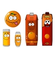Cartoon orange and juice characters vector image vector image