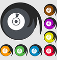 CD or DVD icon sign Symbols on eight colored vector image vector image