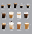 coffee types set realistic isolated vector image vector image