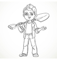 Cute boy farmer in jeans holding a shovel on his vector image vector image