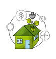 ecological house with environment care icons vector image vector image