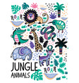 fashion safari seamless pattern with jungle vector image vector image