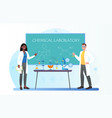 female chemistry teacher and student in safety vector image