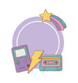 game boy cassette and lighting frame vector image vector image