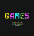 games font 3d bold colorful style vector image vector image