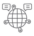 globe communication thin line icon internet and vector image vector image
