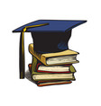graduation cap on stack of books vector image vector image