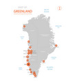 greenland map with administrative divisions vector image vector image