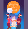 happy new year greeting card man and woman in vector image