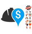 helmet and money pointer icon with valentine bonus vector image