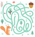 help squirrel find way to nut forest vector image