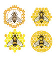 honey bee set vector image vector image
